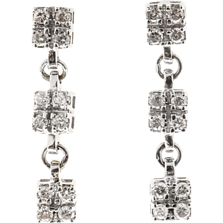 Diamond 14 Karat White Gold Hinged Three Section Dangle Earrings