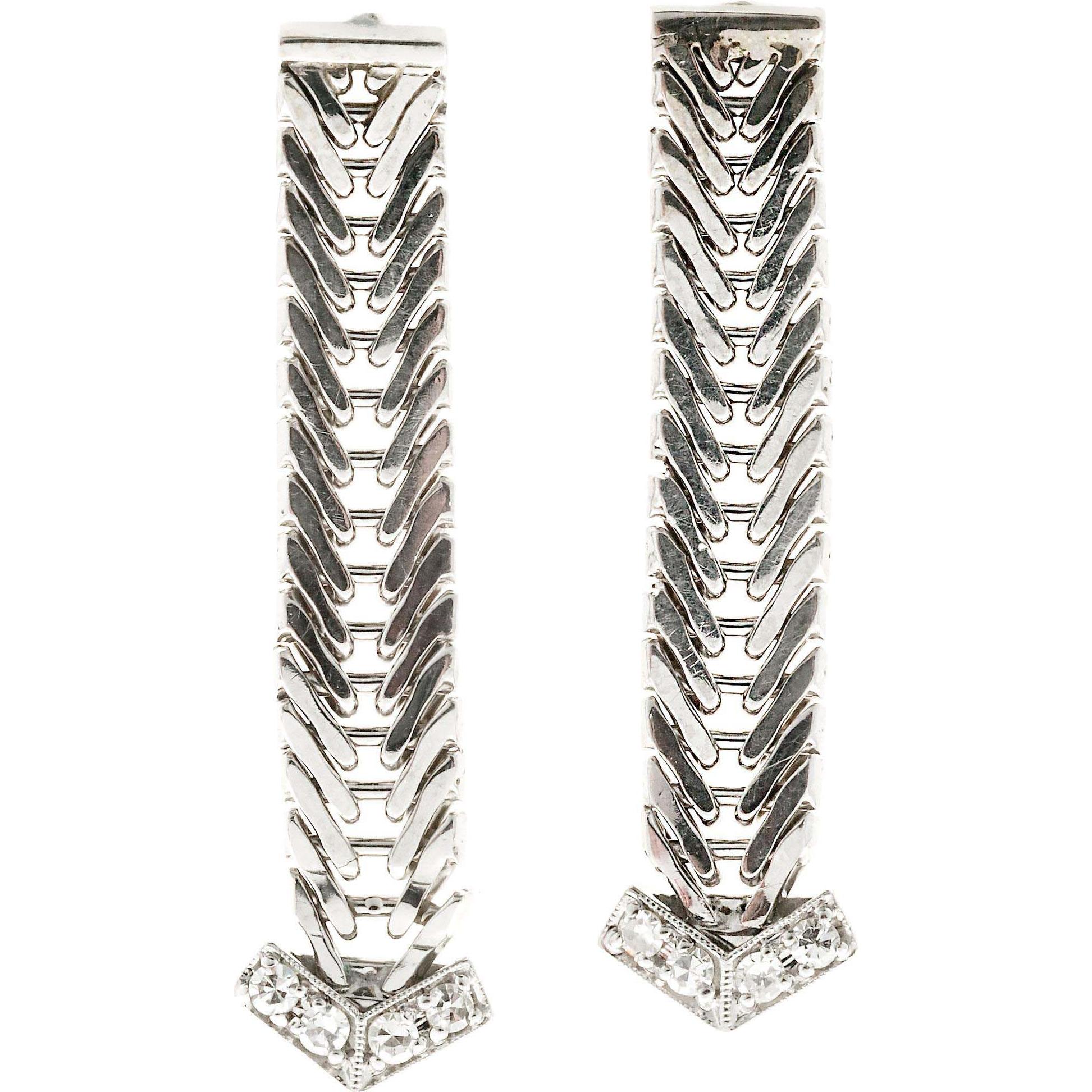 Diamond Tip Modern Era 14 Karat White Gold Dangle Earrings