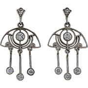 Art Deco Open Work .64ct Diamond Dangle Chandelier Platinum Earrings