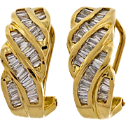 Diamond Baguette Swirl 14 Karat Yellow Gold Hoop Earrings