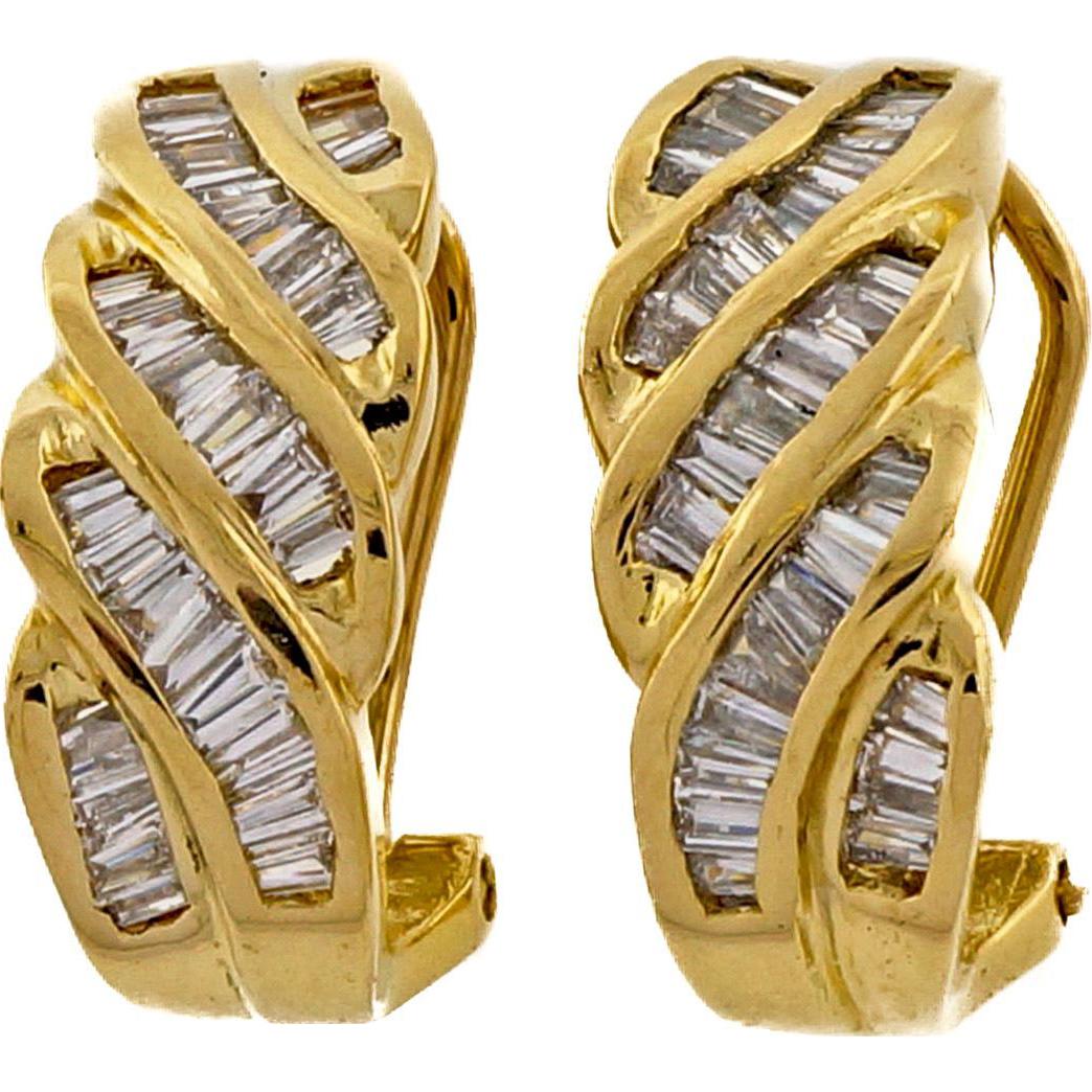 Diamond Baguette Swirl 14 Karat Yellow Gold Hoop Earrings