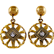 Diamond 14 Karat Yellow Gold Round Open Work Dangle Earrings