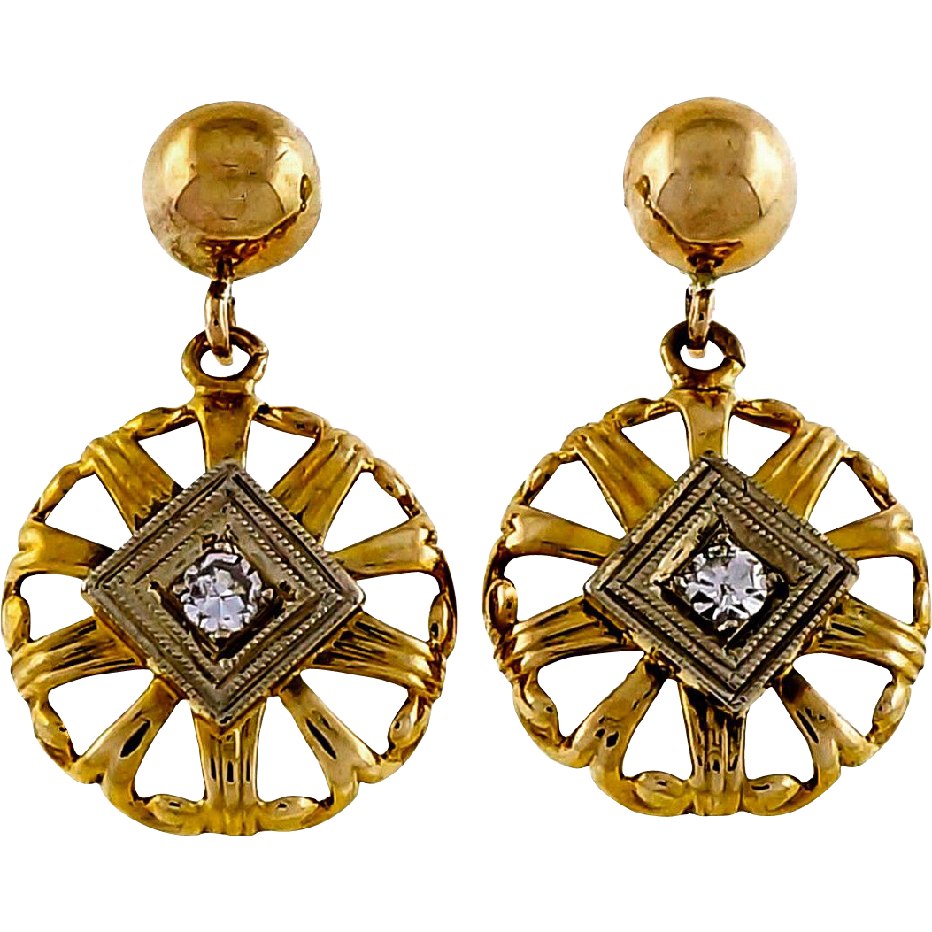 Diamond 14 Karat Yellow Gold Round Open Work Dangle Earrings