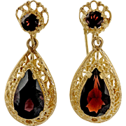 Pyrope Garnet 14 Karat Yellow Gold Filigree Dangle Earrings