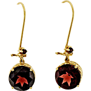Red Garnet 14 Karat Rose Gold Dangle Earrings