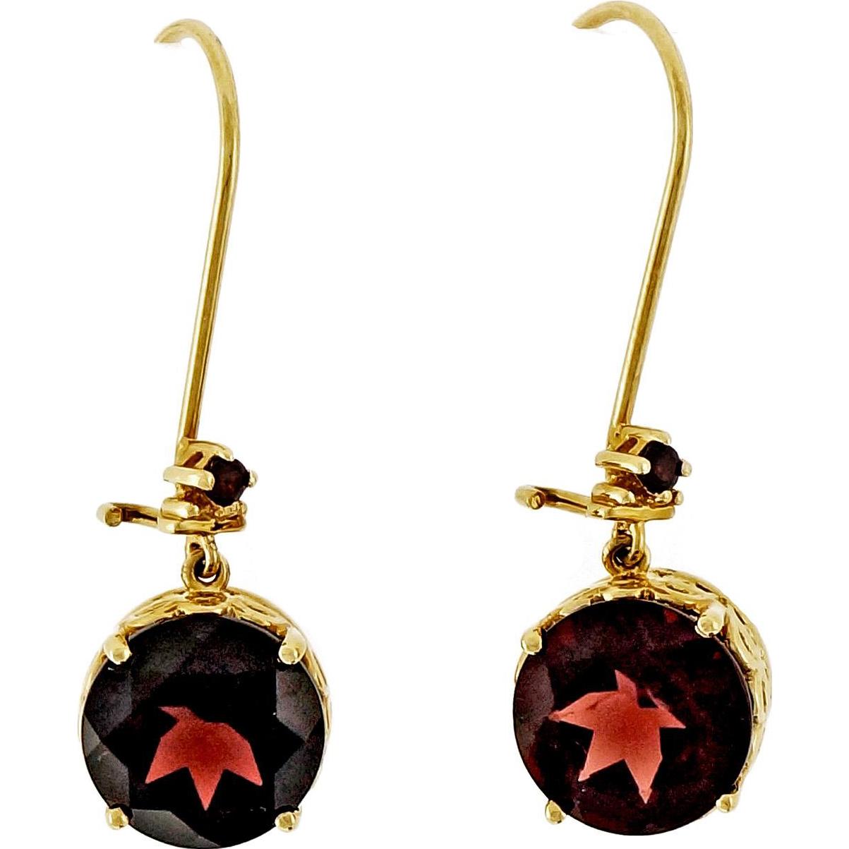 Red Garnet 14 Karat Rose Gold Dangle Earrings