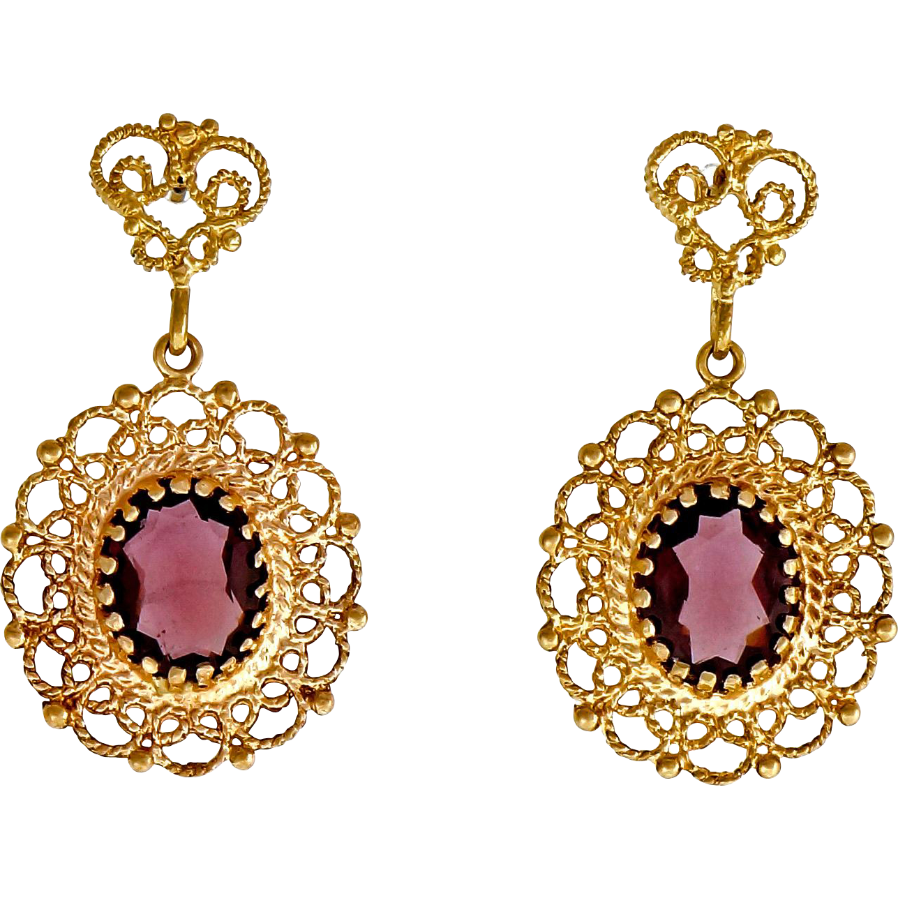Oval Rhodolite Garnet 14 Karat Yellow Gold Dangle Earrings