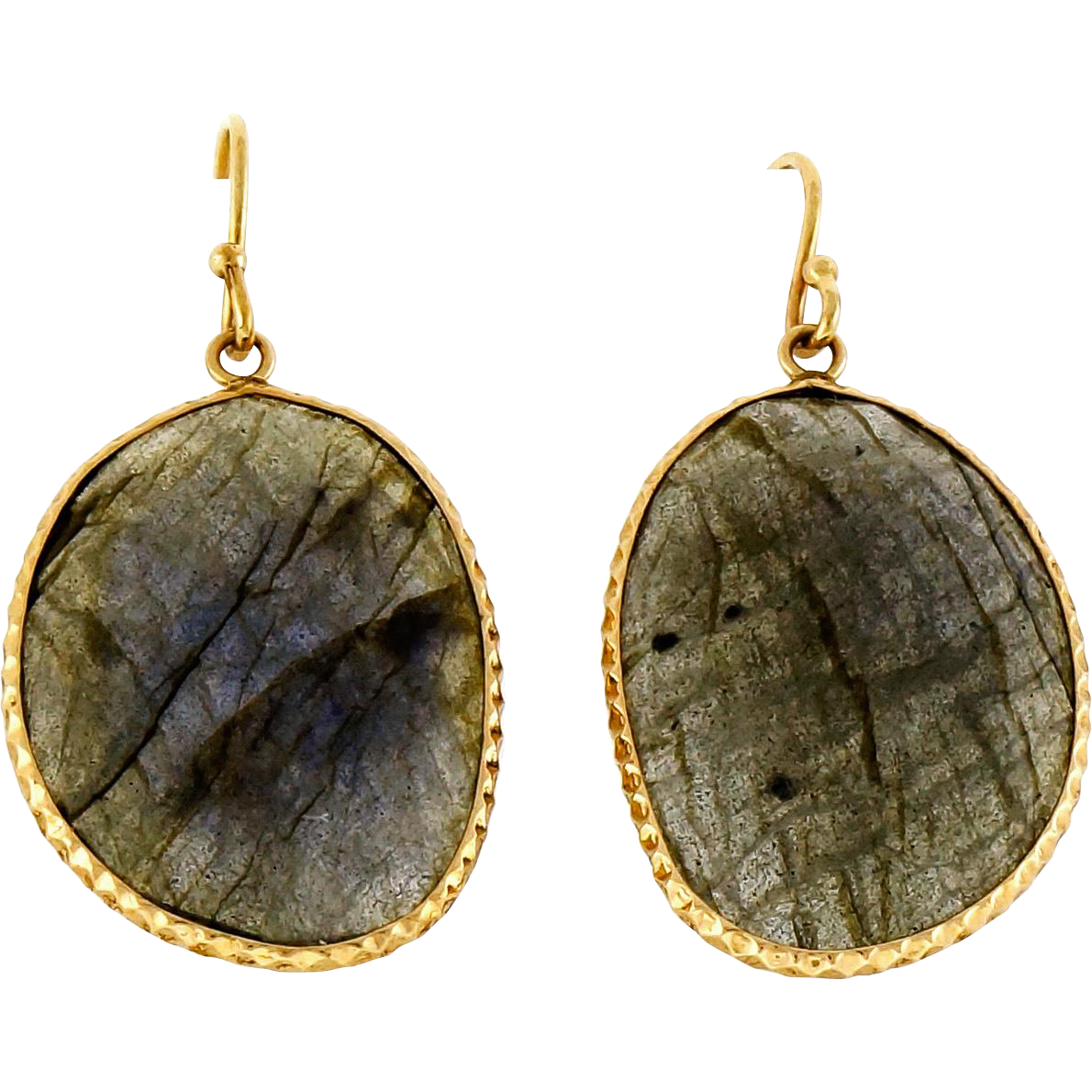 Labradorite Rose Cut Slice 14 Karat Rose Gold Dangle Earrings