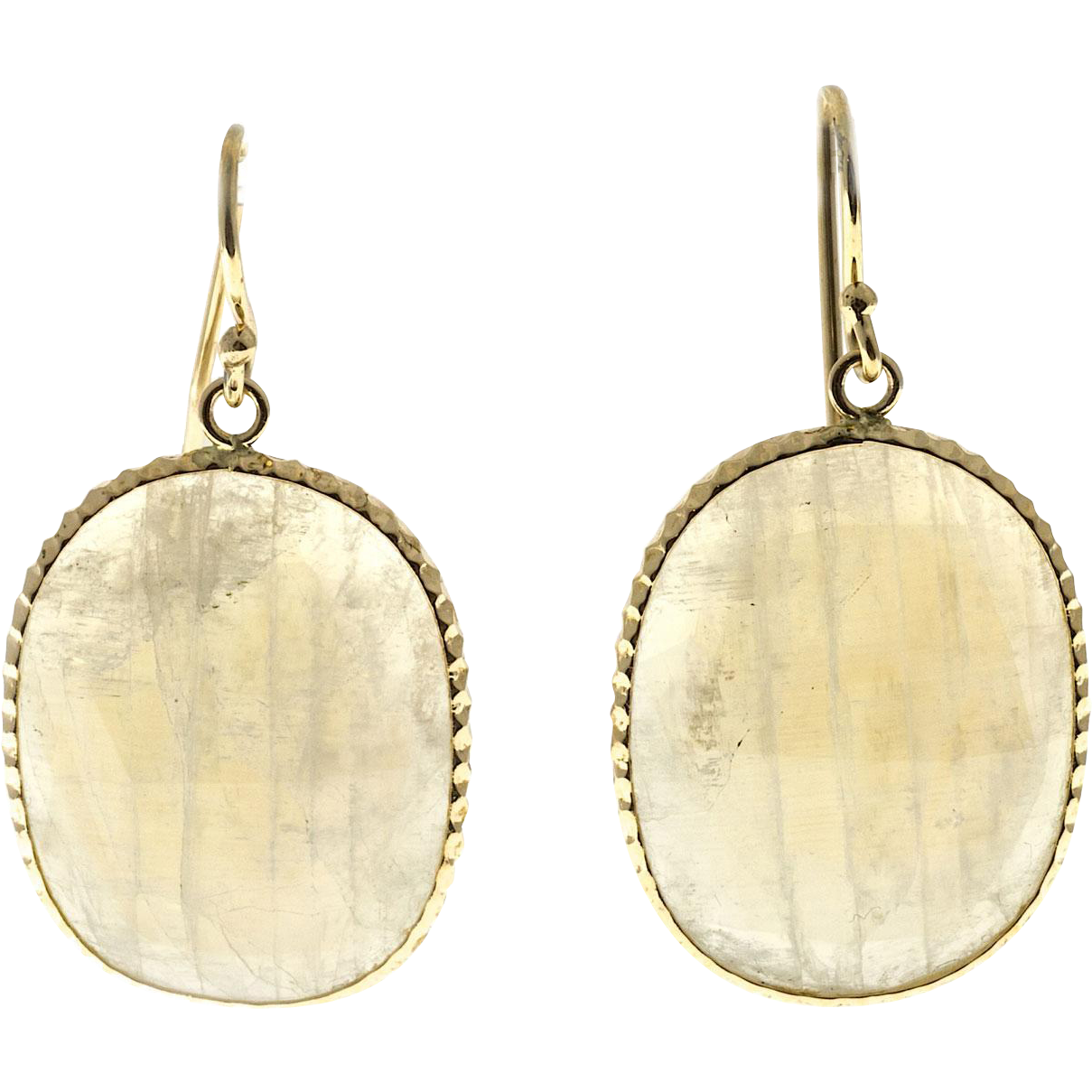 Vintage Rainbow Moonstones 10.00ct 14k Yellow Gold Dangle Earrings