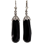 Vintage Art Deco Black Onyx Briolette 14 Karat White Gold Diamond Dangle Earrings
