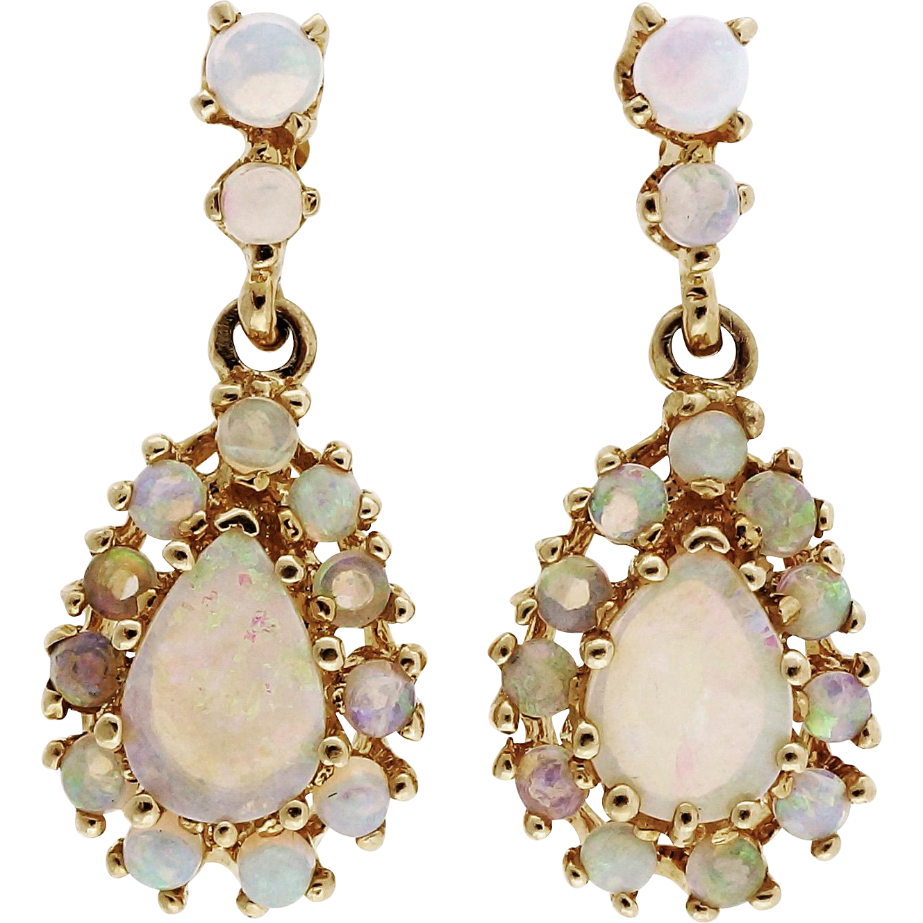 1 karat earrings opal 14 karat yellow gold dangle earrings from 1623