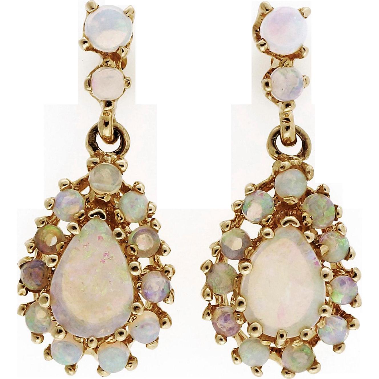 Opal 14 Karat Yellow Gold Dangle Earrings