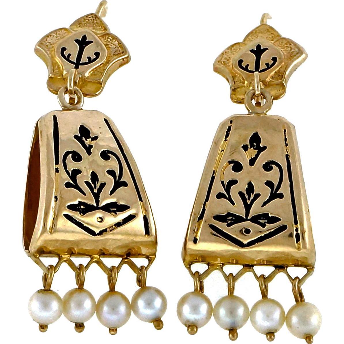Cultured Pearl 14 Karat Yellow Gold Revival Dangle Earrings
