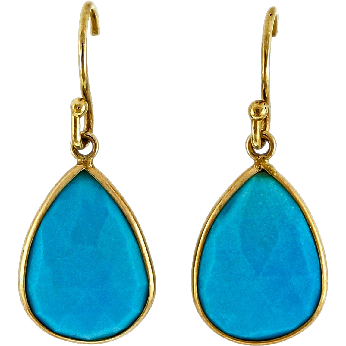 Pear Shape Sleeping Beauty Turquoise 14 Karat Yellow Gold Dangle Earrings