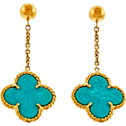 Turquoise 18 Karat Yellow Gold Clover Dangle Drop Earrings