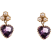 Amethyst  Cultured Pearl 14 Karat Yellow Gold Dangle Earrings