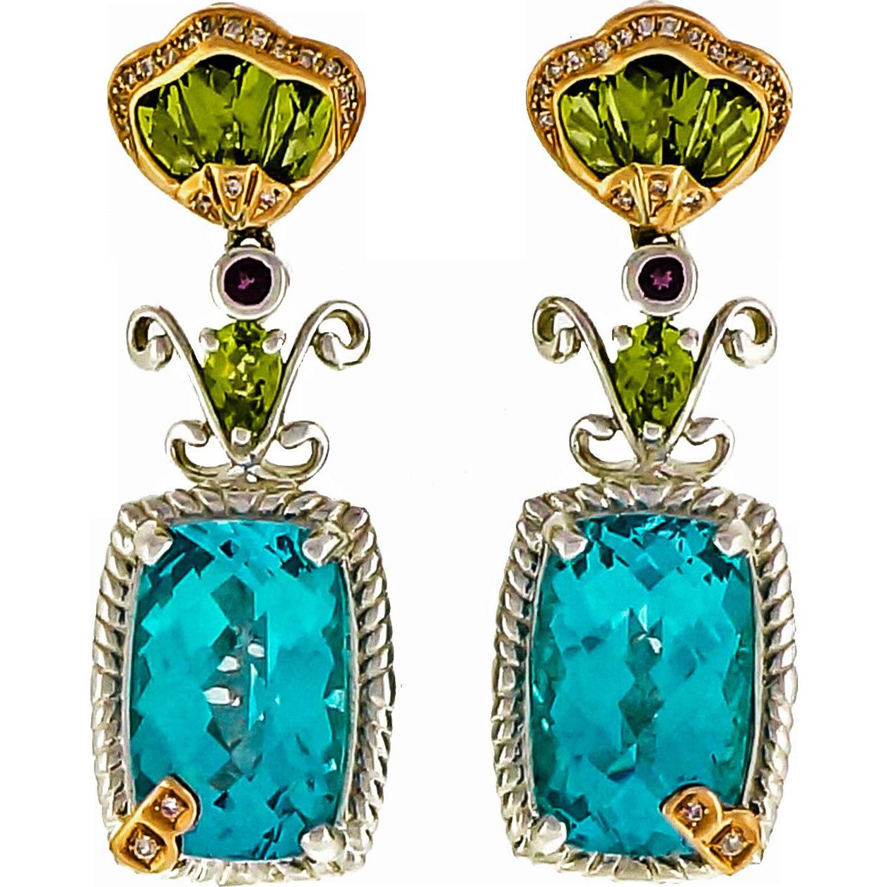 Bellarri Peridot Diamond Topaz Amethyst Sterling Silver Rose 18 Karat Gold Dangle Earrings