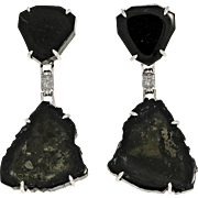 Black Tourmaline Crystal Slice 14 Karat White Gold Dangle Earrings