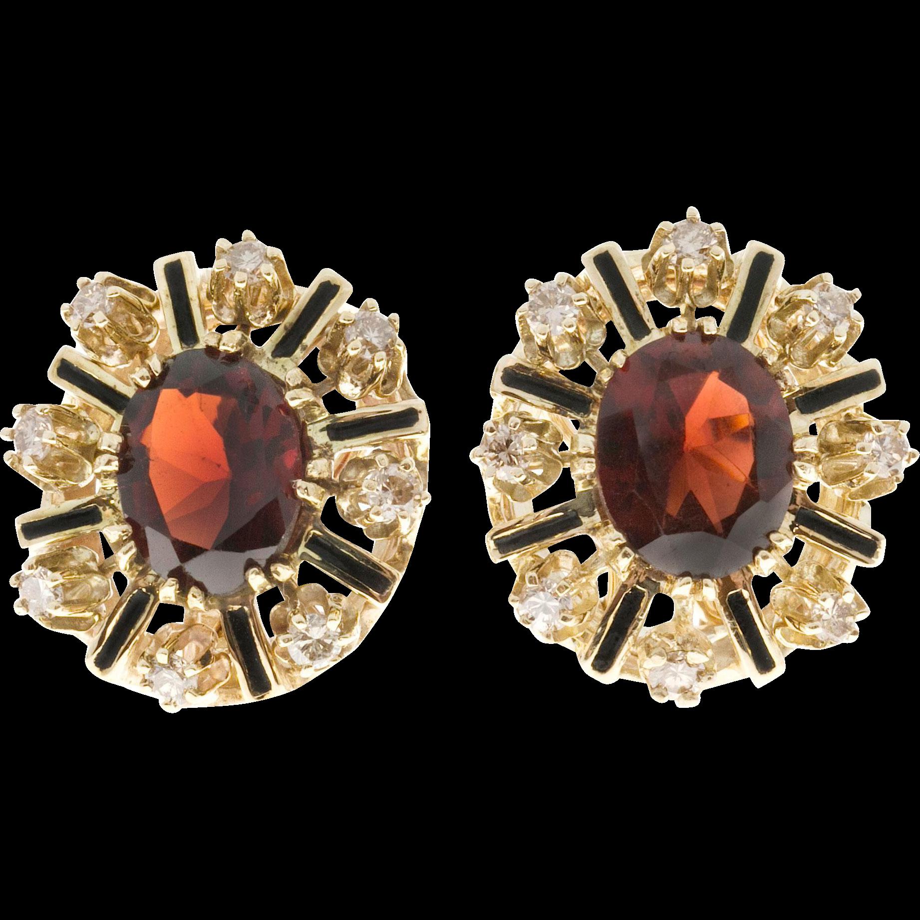 Reddish Brown Garnet Diamond Enamel 14 Karat Gold Earrings