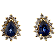 Blue Pear Sapphire Diamond Halo 14 Karat Stud Earrings