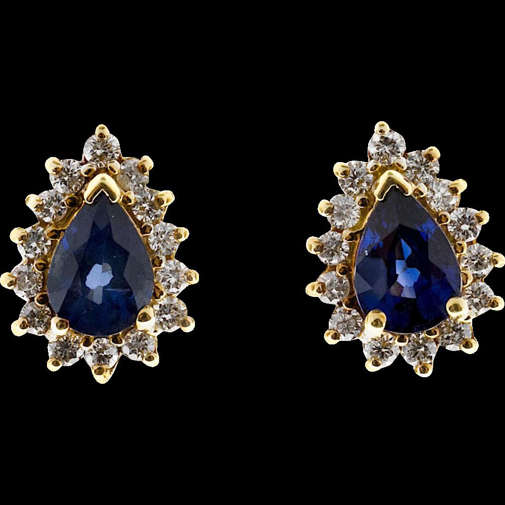 Blue Pear Sapphire Diamond Halo 14 Karat Stud Earrings