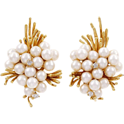 Vintage Cultured Pearl Diamond 18 Karat Yellow Gold Cluster Earrings