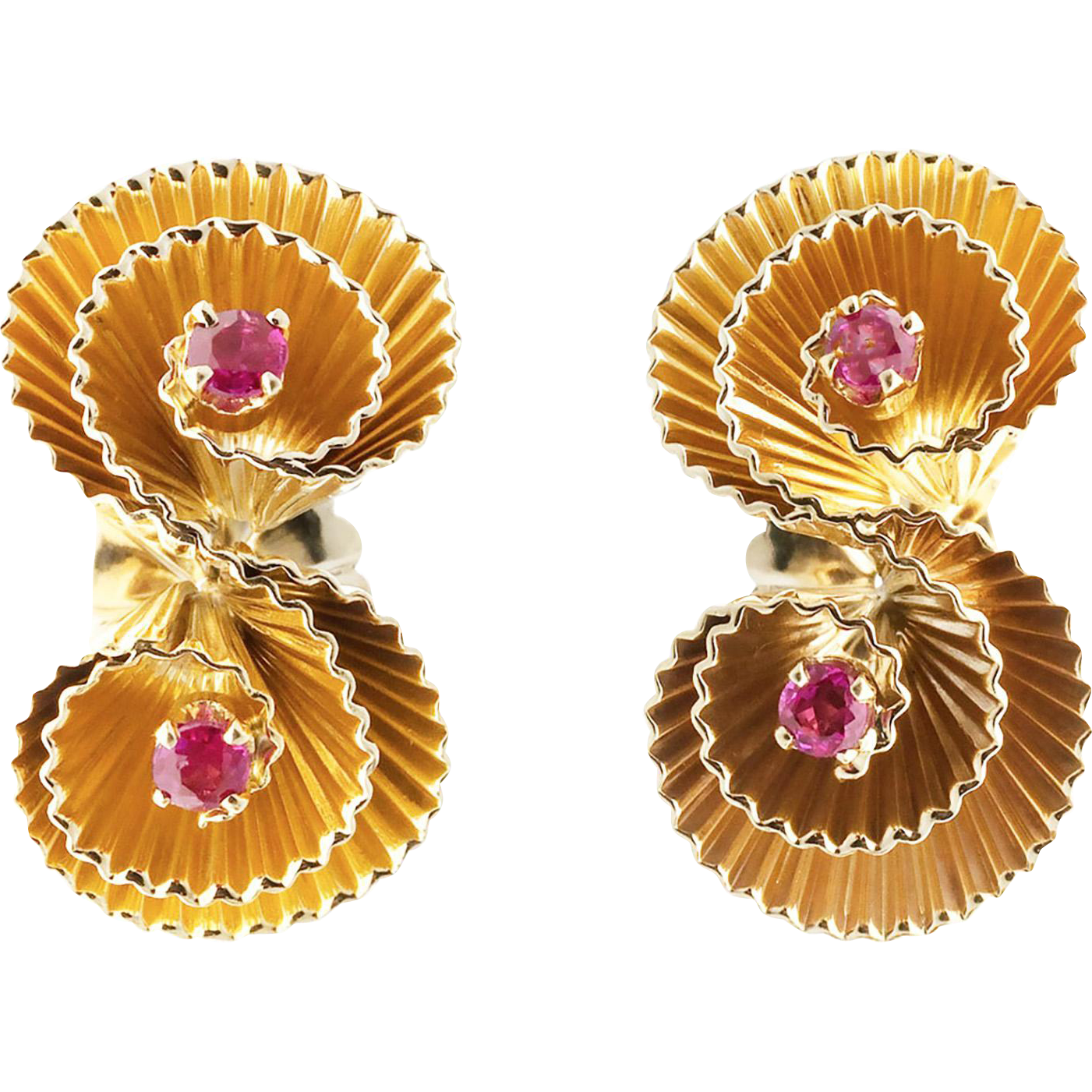 Red Ruby Diamond 14 Karat Gold Swirl Fan Earrings