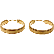 Vintage 1950 18 Karat Yellow Gold Textured Hoop Earrings
