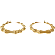 Vintage 1960 14 Karat Yellow Gold Bamboo Hoop Earrings