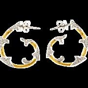 Cordova Diamond 2 Tone 18 Karat White Yellow Gold Hoop Earrings