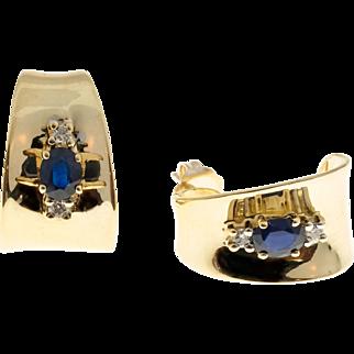 Blue Sapphire Diamond 3-D Curved 14 Karat Yellow Gold Pierced Post Earrings