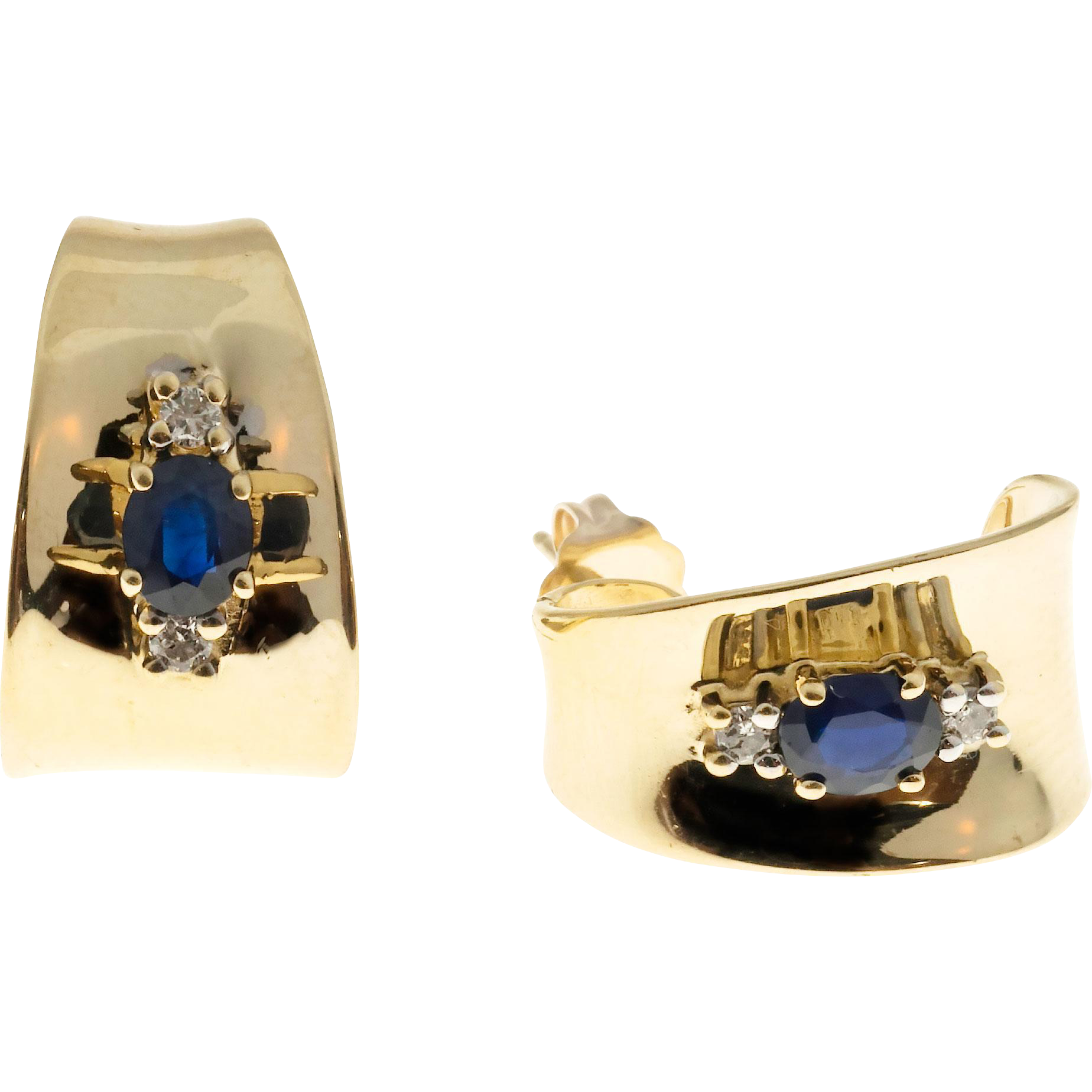 Blue Sapphire Diamond 3-D Curved 14 Karat Yellow Gold Pierced Post Earrings