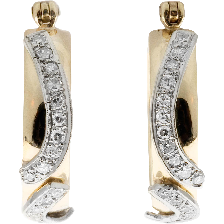 Round Diamond 14 Karat Yellow White Gold Hinged Post Hoop Earrings