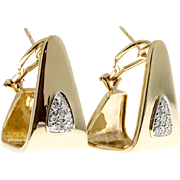 Pave Set Diamond Angular 14 Karat Gold Clip Post Earrings