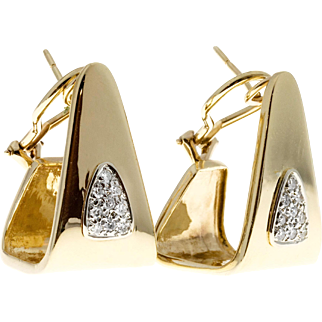 Pave Set Diamond Angular 14 Karat Gold Clip Post Earrings