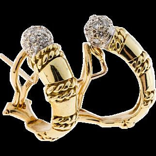 Vintage Diamond 18 Karat Yellow Gold Clip Post Hoop Earrings
