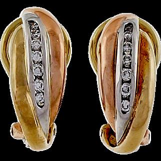 Vintage Diamond  Tri Color 14 Karat Yellow White Rose Gold Hoop Earrings