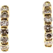 1960s Diamond Semi Hoop 14 Karat Yellow Gold Earrings