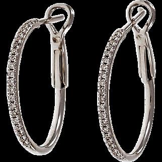 Micro Pave Diamond 14 Karat White Gold Hoop Earrings