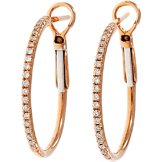 Micro Pavé Diamond 14 Karat Rose Gold Hoop Earrings