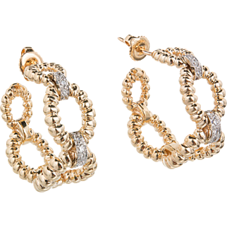 Vintage Diamond 14 Karat Yellow White Gold Hoop Earrings