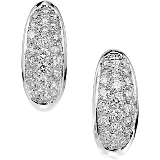 2.00 cts Diamond Pavé 18 Karat White Gold Hoop Earrings