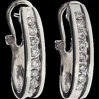 Estate Diamond Clip Post 14 Karat White Gold Hoop Earrings