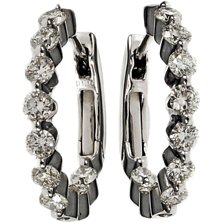 Diamond Inside Out Style 14 Karat White Gold Hoop Earrings