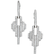 Diamond Hoop 14 Karat White Gold Dangle Earrings