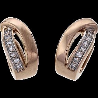 Vintage Diamond Huggie 14 Karat Rose Gold Hoop Earrings