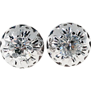 Victorian Old Mine Cut Diamond Domed Stud Earrings