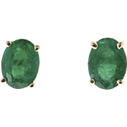 Bright Green Oval Emerald 18 Karat Gold Post Pierced Earrings