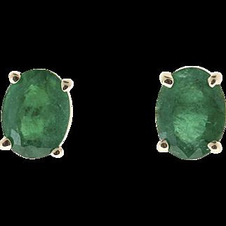 Bright Green Oval Emerald 18 Karat Gold Post Pierced Earrings