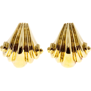 18 Karat Yellow Gold Italian Wave Design Clip Post Earrings